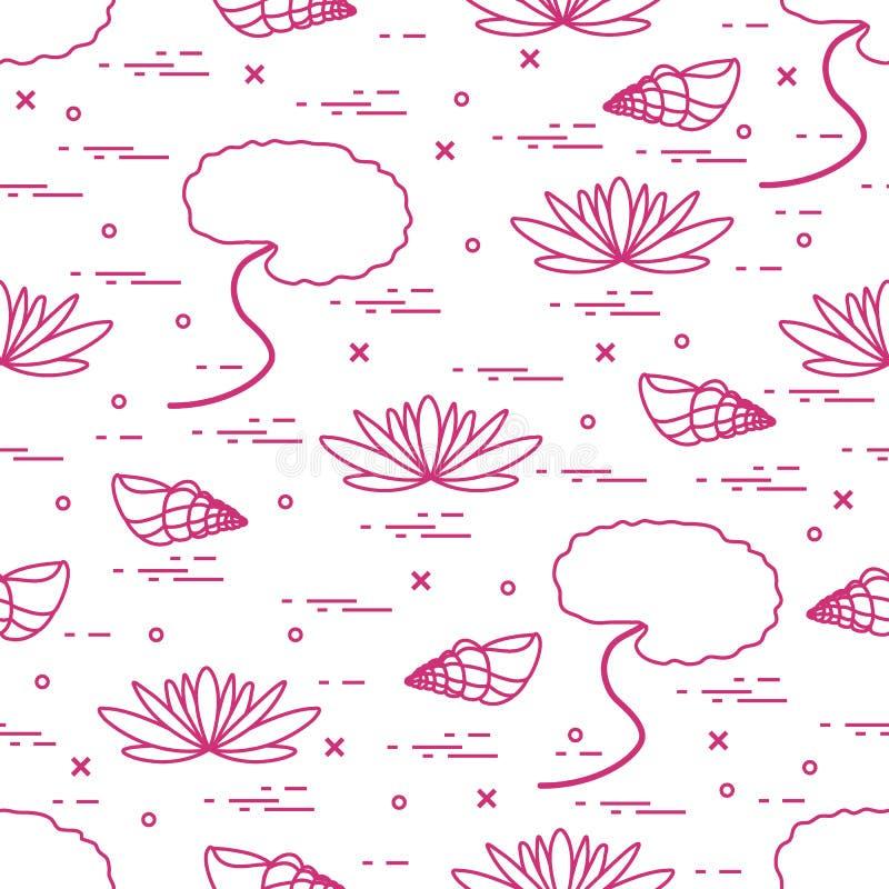 与壳和花和叶子百合的逗人喜爱的无缝的样式 库存例证
