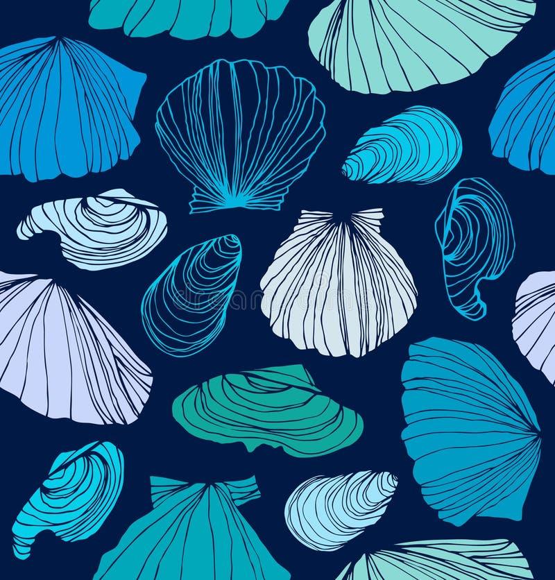 与壳的无缝的海洋样式 皇族释放例证