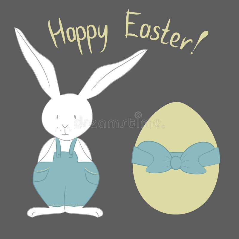 与复活节兔子和五颜六色的装饰鸡蛋的卡片 也corel凹道例证向量 库存例证