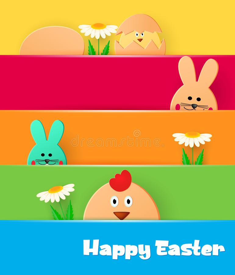与复活节快乐的明亮的贺卡 看在轻的背景的复活节兔子和鸡 库存例证