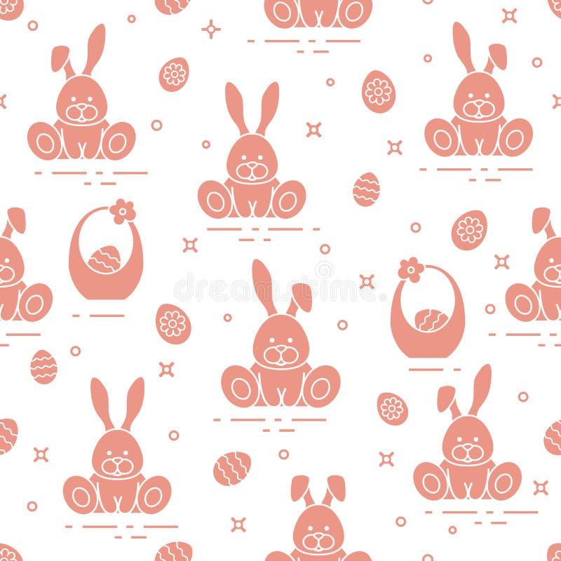 与复活节标志的无缝的样式 兔子,鸡蛋,装饰的鸡蛋篮子  向量例证