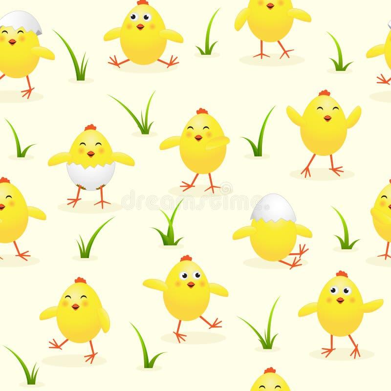 与复活节小鸡的无缝的黄色背景 库存例证