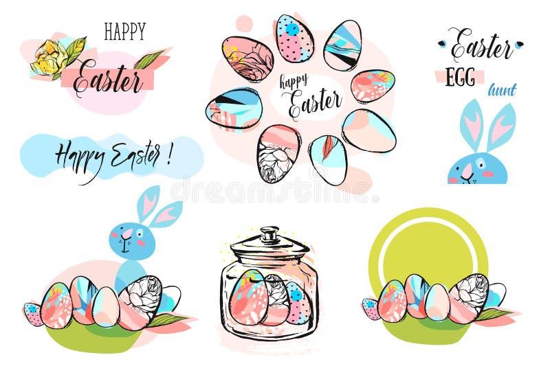 与复活节彩蛋手拉的黑色的复活节框架在白色背景 从鸡蛋的装饰框架 复活节彩蛋与 库存例证
