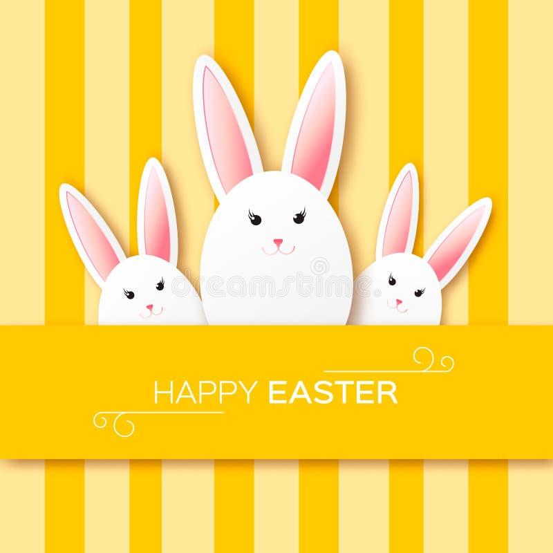 与复活节快乐的贺卡-用白皮书复活节兔子 向量例证