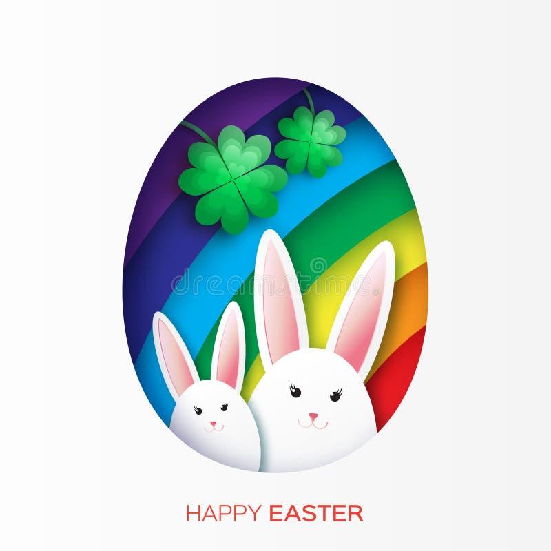 与复活节快乐的贺卡-用白色复活节兔子、彩虹和三叶草 向量例证