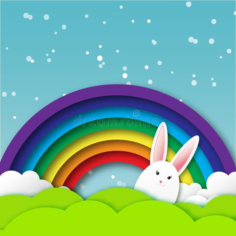 与复活节快乐的贺卡-用白色复活节兔子 向量例证