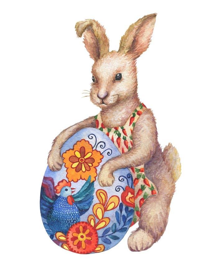与复活节的逗人喜爱的棕色复活节兔子兔子漫画人物上色了鸡蛋 向量例证