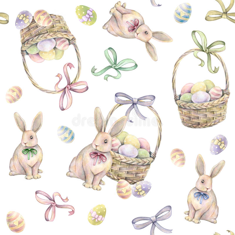 与复活节篮子的兔子在白色背景 颜色复活节彩蛋 画开花的河结构树水彩绕的银行 手工 无缝的模式 向量例证