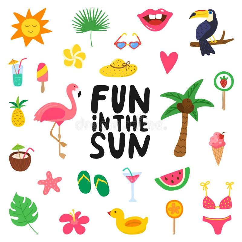 与夏天元素的乐趣在阳光下手拉的行情 与乱画火鸟,花,热带水果的夏天设计 向量例证