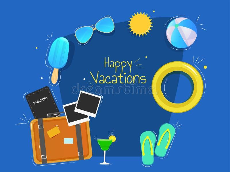 与夏天元素的愉快的假期横幅或海报设计 皇族释放例证