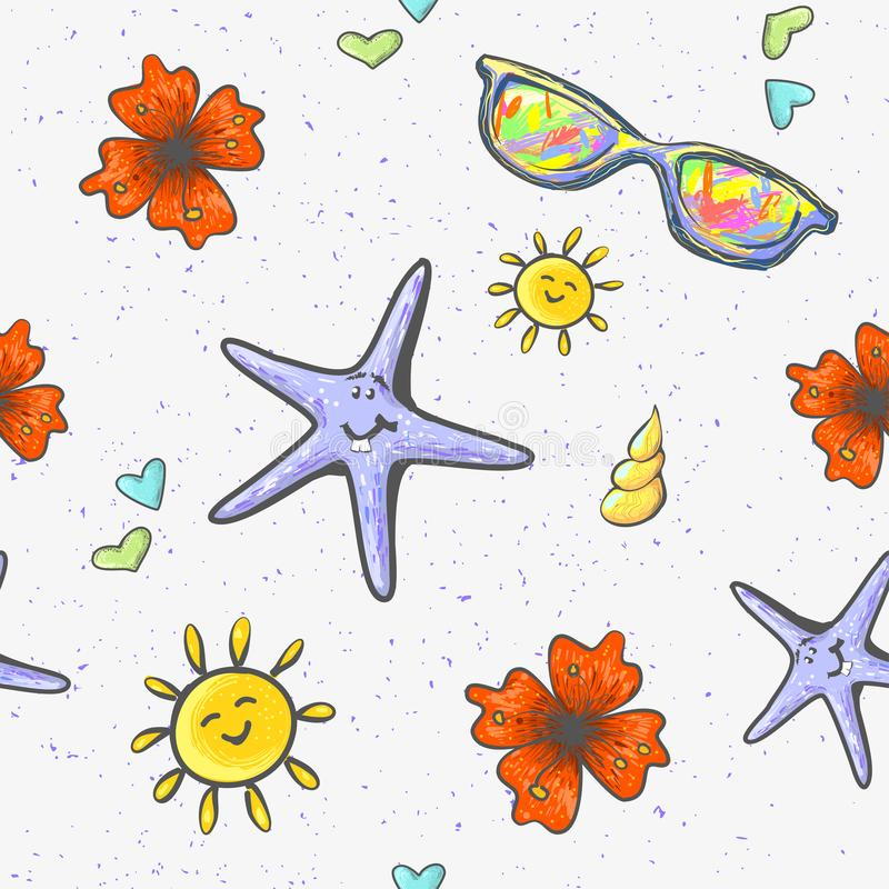 与夏天对象海shel逗人喜爱的星鱼字符太阳镜和花时尚的无缝的背景打印 向量例证