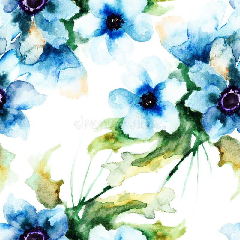 与夏天蓝色花的无缝的墙纸 皇族释放例证