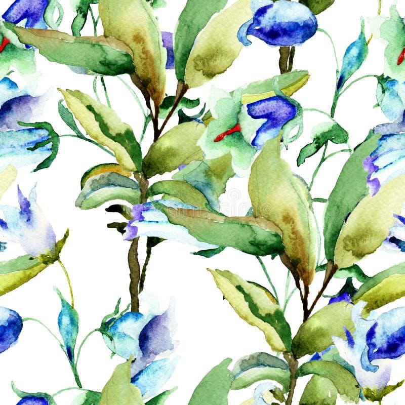 与夏天蓝色花的无缝的墙纸 向量例证