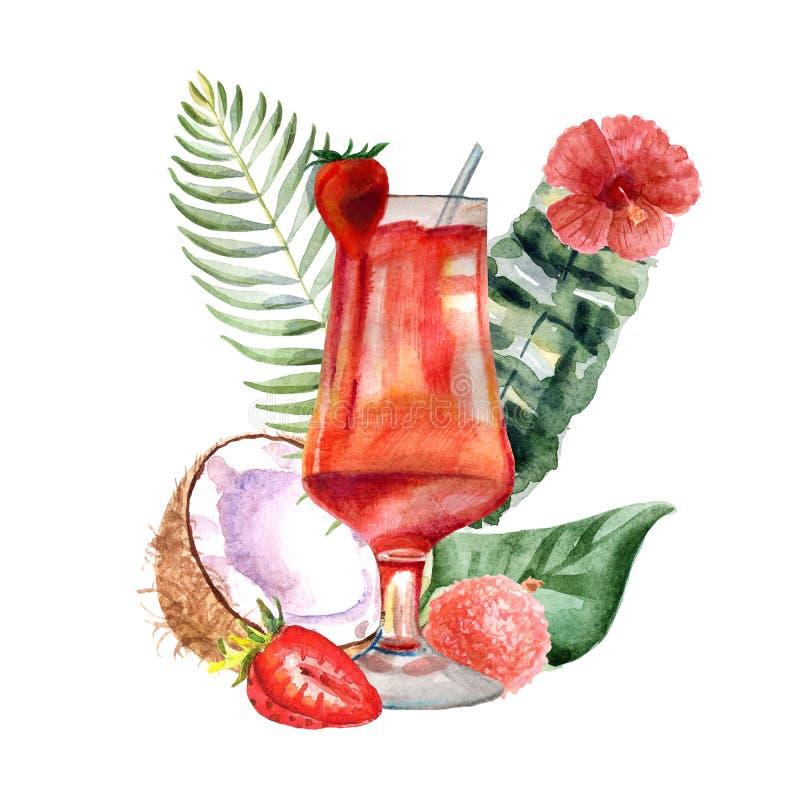 与夏天鸡尾酒、果子和花的水彩热带例证 皇族释放例证