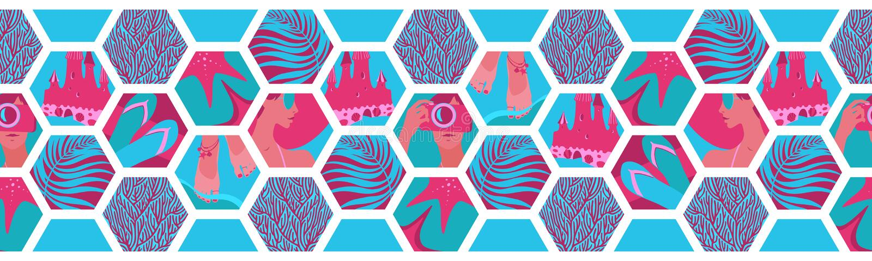 与夏时六角形形状的几何水平的无缝的边界 传染媒介热带海放松蓝色和桃红色瓦片,海滩假日 库存例证