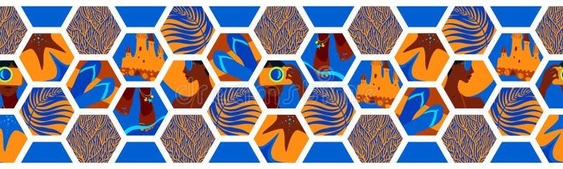 与夏时六角形形状的几何水平的无缝的边界 传染媒介热带海放松蓝色,黄色和棕色瓦片, 库存例证
