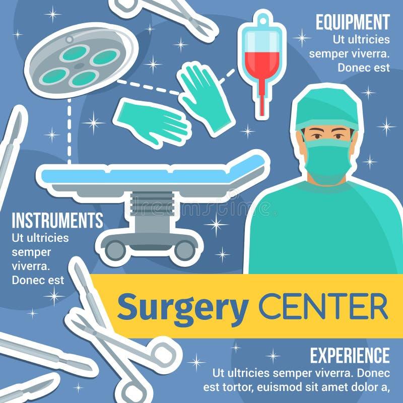 与外科医生和仪器的手术中心海报 库存例证