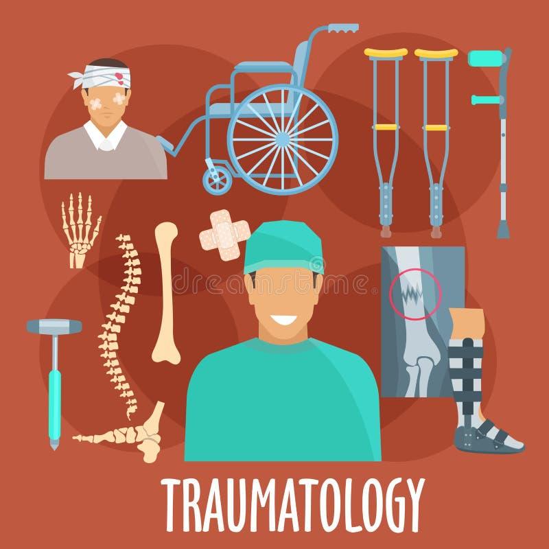 与外科医生和医疗工具的外伤学标志 皇族释放例证
