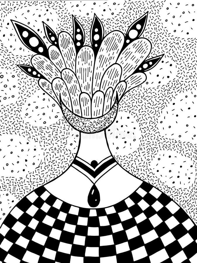 与外籍人超现实的女孩的手拉的墨水例证 抽象意想不到的艺术 抽象艺术品背景几何向量 皇族释放例证