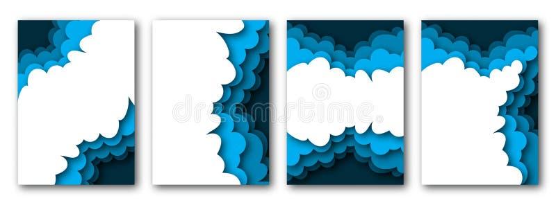 与多云天空的纸被削减的夏天海报文本的模板和地方 库存例证