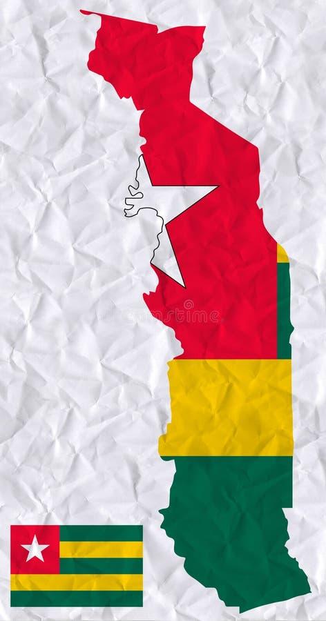 与多哥旗子和地图水彩绘画的传染媒介老压皱纸  库存例证