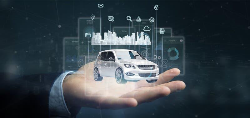 与多媒体象的商人藏品仪表板smartcar接口和在背景3d翻译的城市地图 向量例证