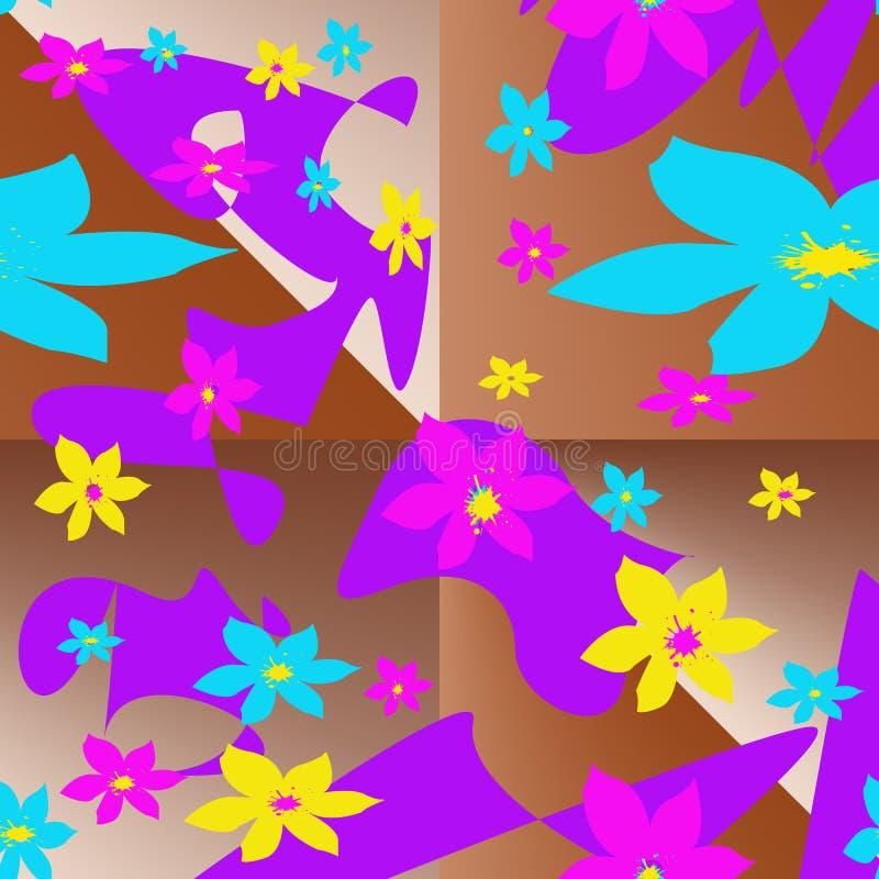 与多彩多姿的元素的无缝的样式以风格化花和抽象斑点的形式 向量例证
