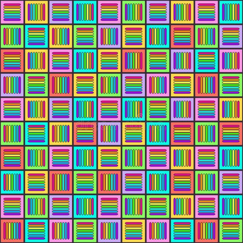 与多彩多姿的发怒线的几何无缝的样式在正方形,彩虹颜色把装饰品,棱镜图表纹理编成辫子 装饰 皇族释放例证