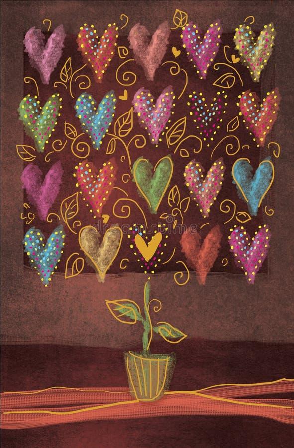与多彩多姿的心脏的秀丽抽象树在棕色背景隔绝的花盆 华伦泰开花的树 皇族释放例证