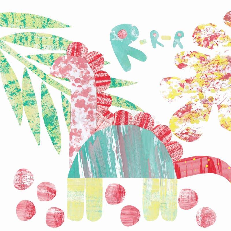 与多彩多姿的恐龙和叶子拼贴画的抽象样式  皇族释放例证