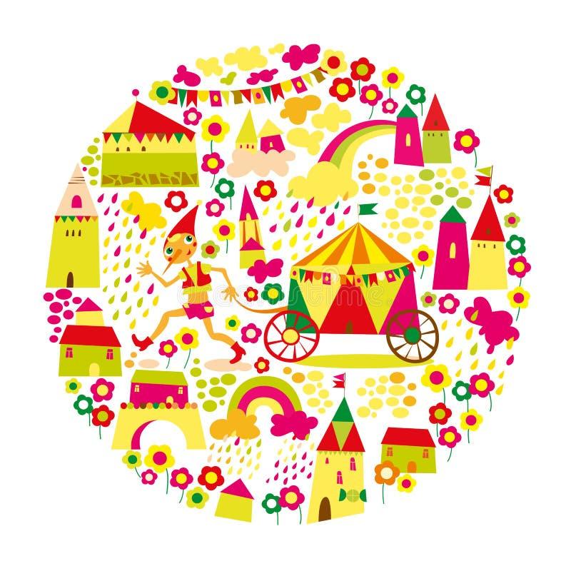与多彩多姿的房子的儿童的圆的背景。 皇族释放例证