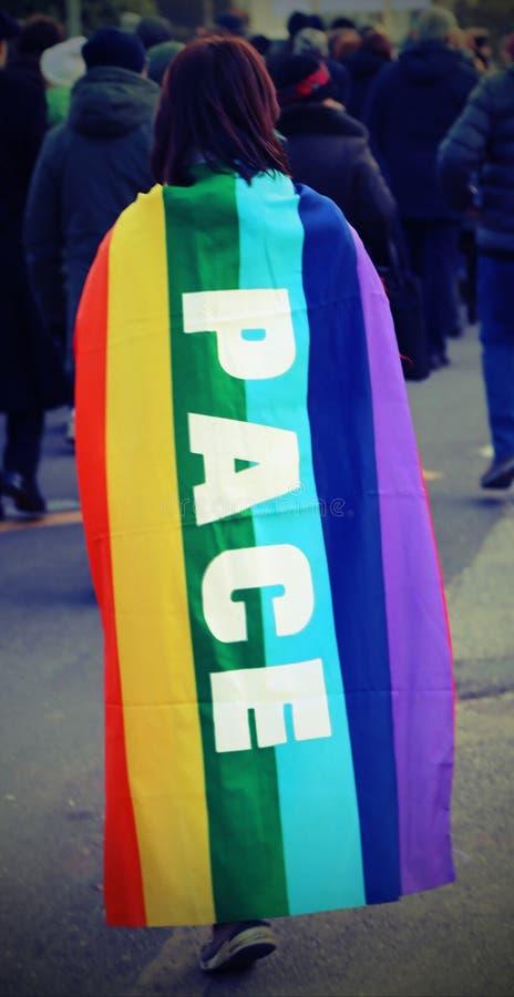 与多彩多姿的旗子和大文字的和平主义的示范 免版税库存照片