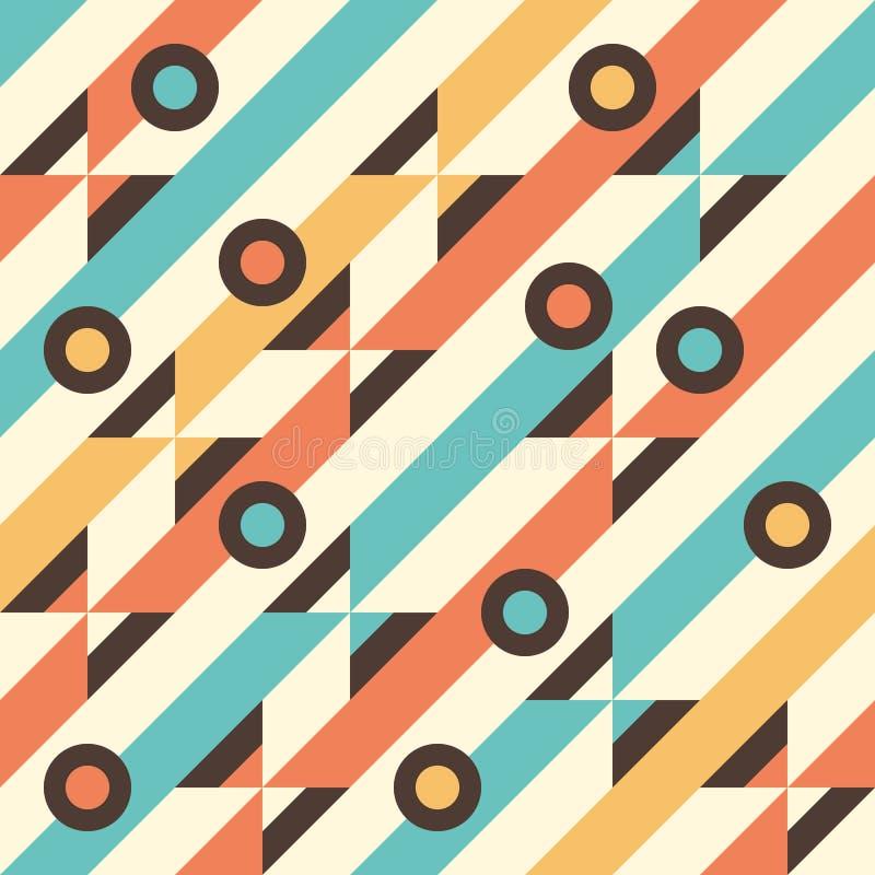 与多彩多姿的条纹和圈子的无缝的样式 向量例证