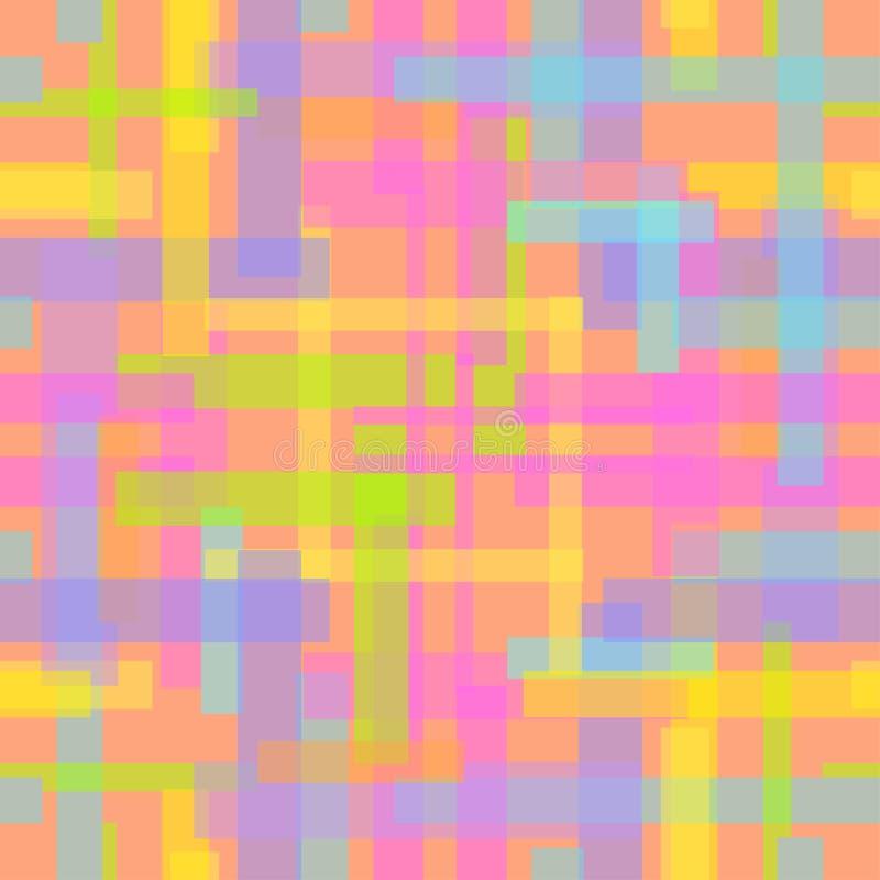 与多彩多姿的条纹的苍白无缝的抽象样式 库存例证