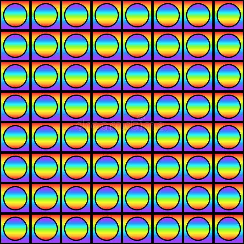 与多彩多姿的梯度正方形和圈子,彩虹颜色抽象装饰品,棱镜图表纹理的几何无缝的样式 库存例证