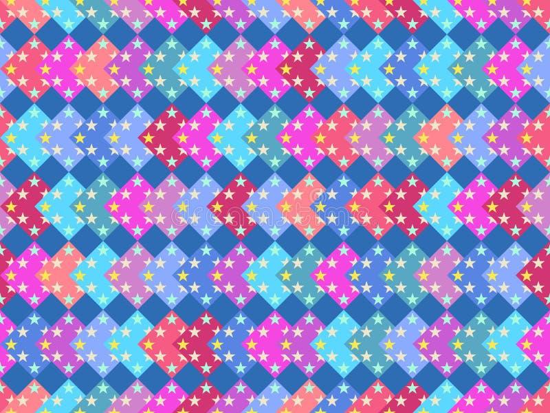 与多彩多姿的正方形和星的无缝的样式 五颜六色的背景 向量 向量例证