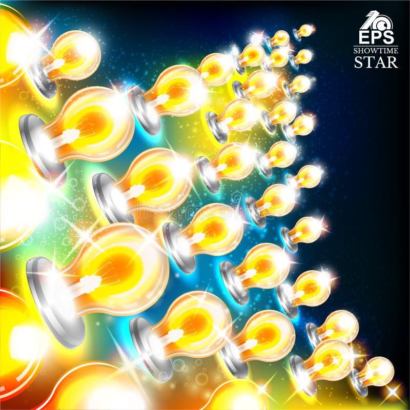 与多彩多姿的电灯泡星形状的抽象明亮的背景在左边的 库存例证