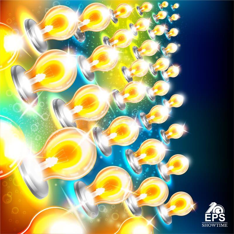 与多彩多姿的电灯泡的抽象明亮的背景在左边 皇族释放例证