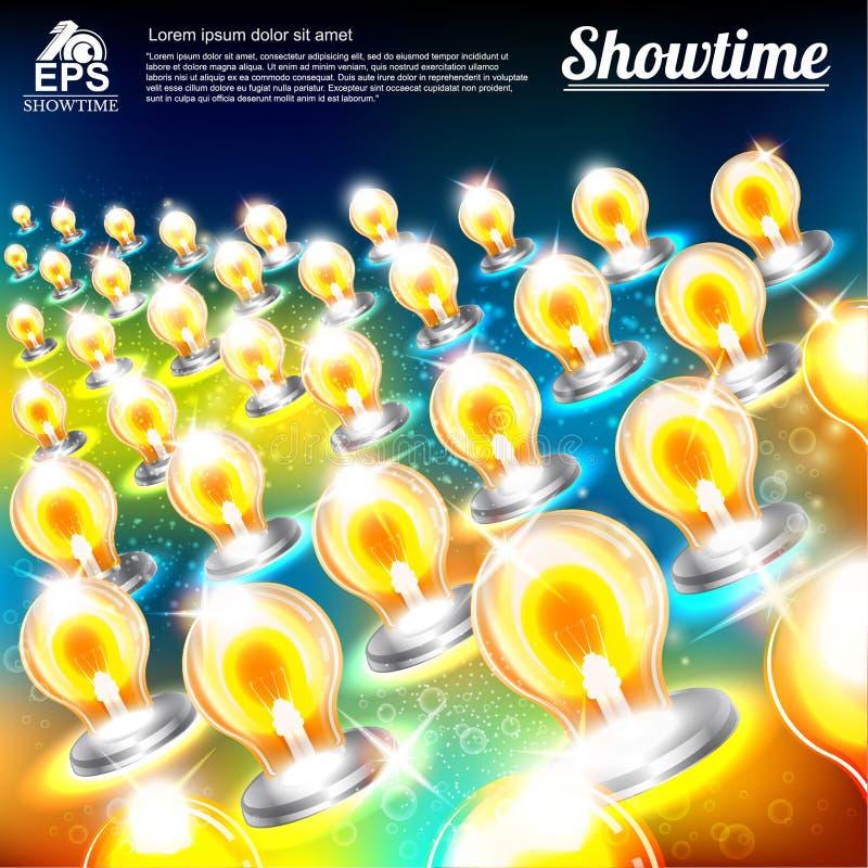 与多彩多姿的电灯泡的抽象明亮的背景 库存例证