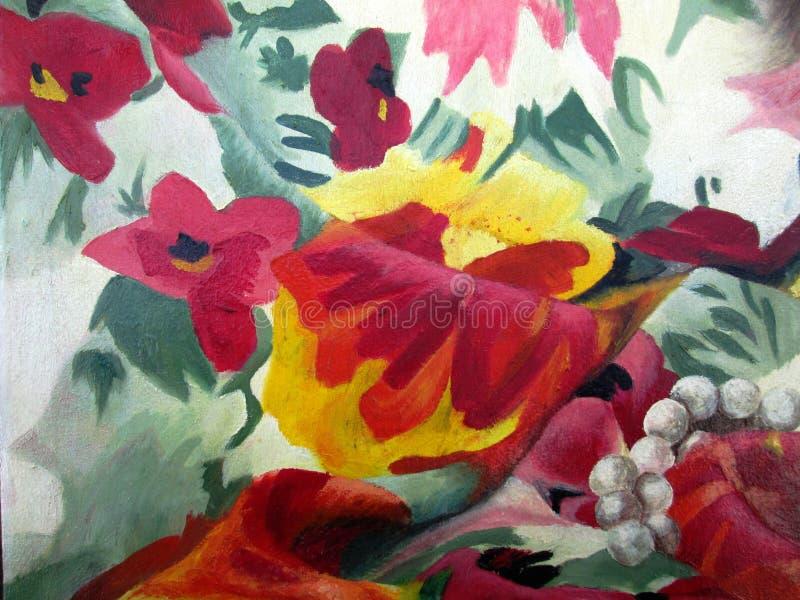 与多彩多姿的花的原始的绘画在帆布的白色背景油 免版税库存图片