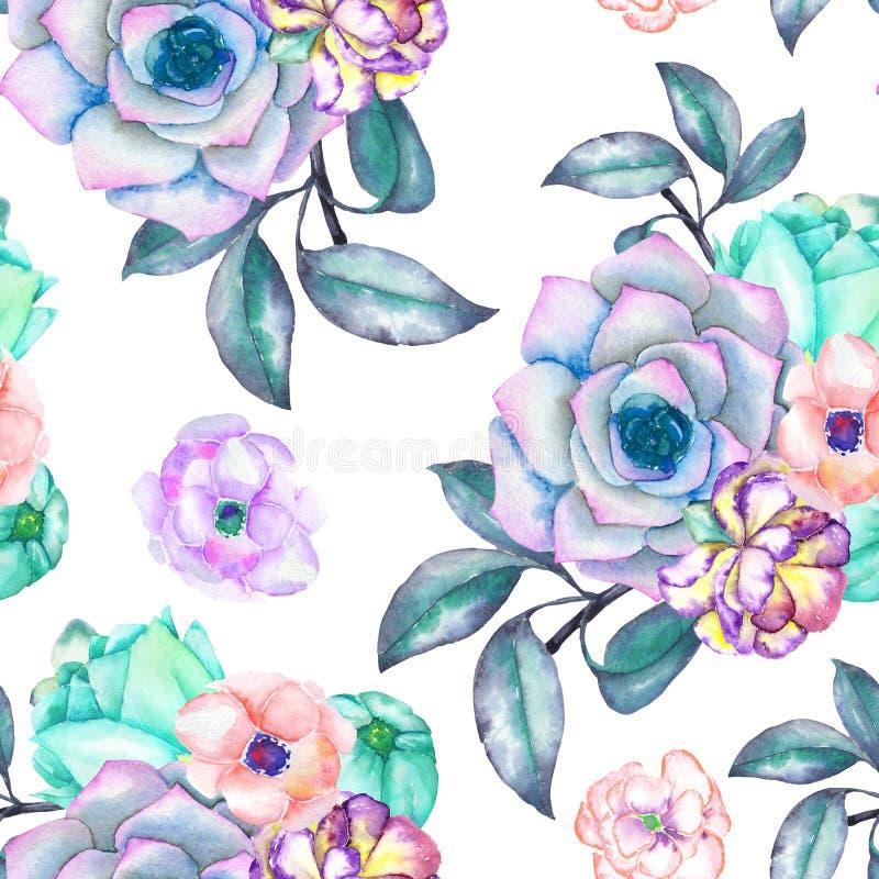 与多汁植物、花、叶子和分支的一个无缝的样式 皇族释放例证