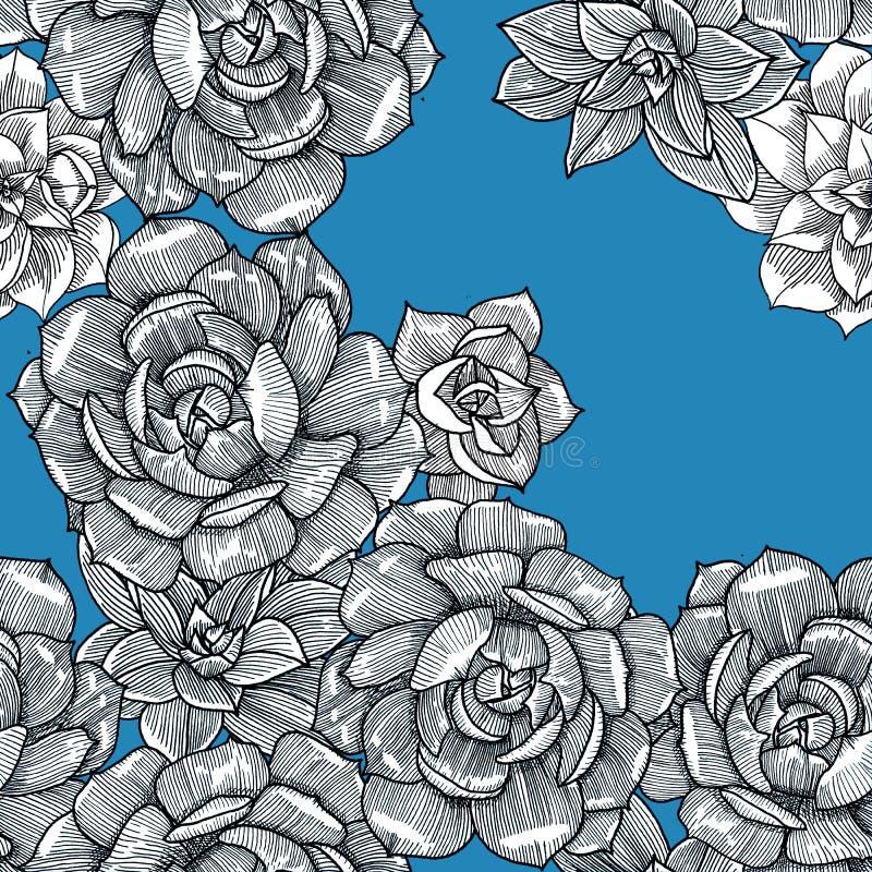 与多汁植物的无缝的样式在蓝色背景 ?? ?? 皇族释放例证