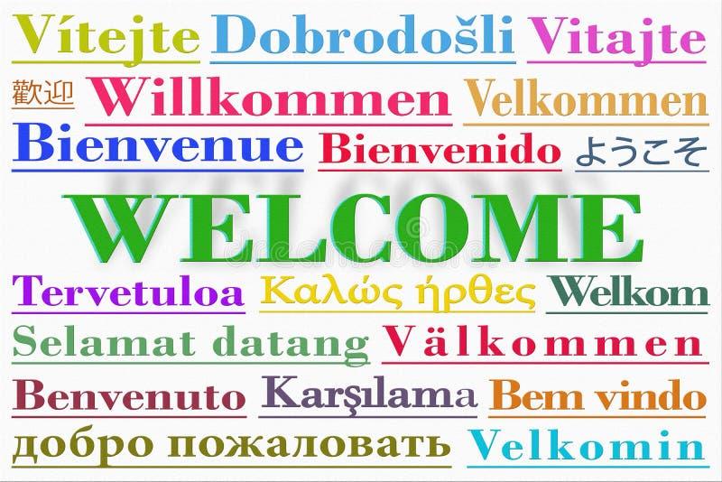 与多种语言写的词欢迎的词云彩 库存例证