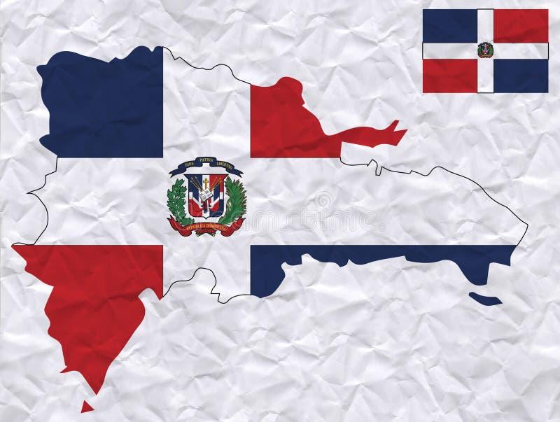 与多米尼加共和国旗子和地图水彩绘画的传染媒介老压皱纸  库存例证