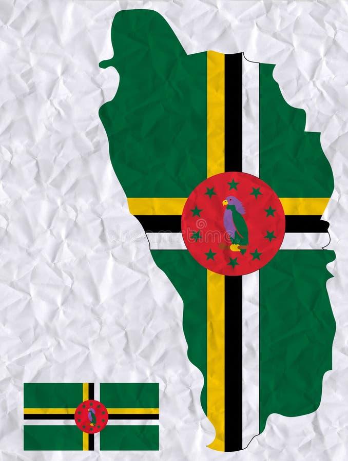 与多米尼加旗子和地图水彩绘画的传染媒介老压皱纸  向量例证