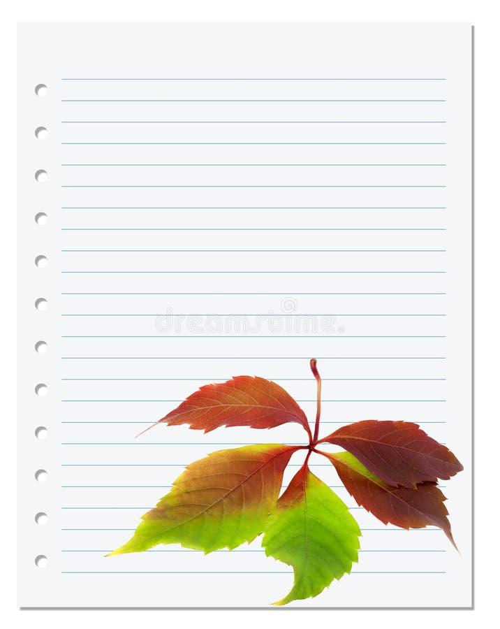 与多色弗吉尼亚爬行物叶子的练习本 库存照片