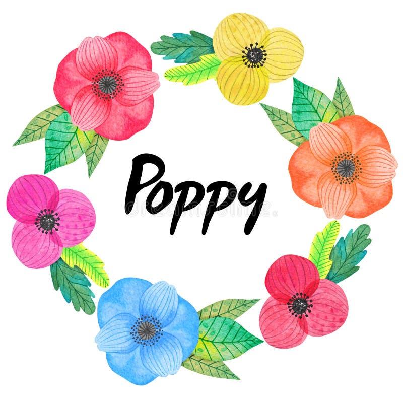 与多色鸦片花和叶子的水彩花圈 邀请的,贺卡,海报装饰 免版税库存图片