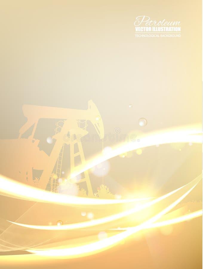 与多角形和线的抽象未来派背景 与金黄样式的油田图象 向量例证