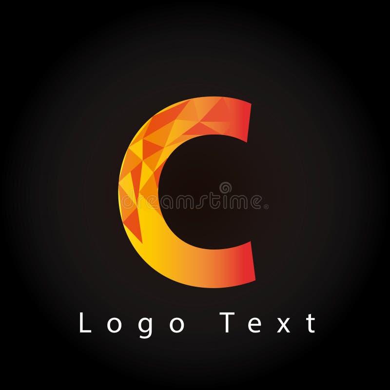 与多角形样式的信件C商标 向量例证