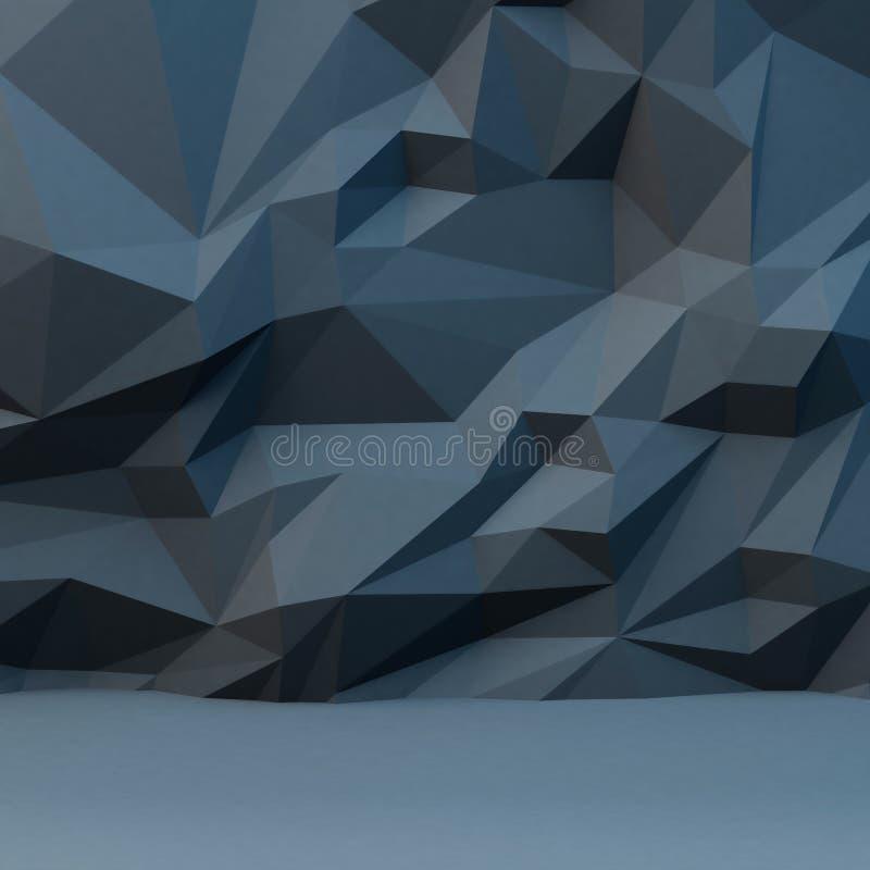 与多角形样式的抽象灰色背景 3d柜栏图象牌照 向量例证